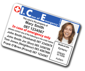 ICE Card - emergency - Epilepsy -Allergu